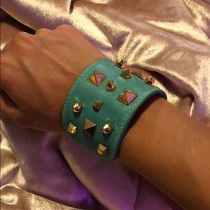 Vince Camuto aqua blue cuff bracelet with gold